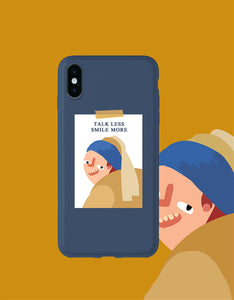 talk less smile more funny painting frosted phone case