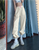 solid color elastic high waisted ankle banded pants