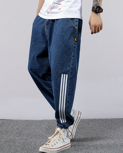 stripe printed decoration ankle banded jeans