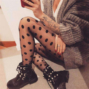 Black Polka Dot Mesh Silk Pantyhose