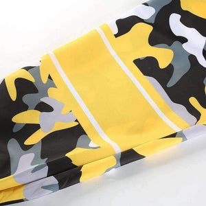 camouflage contrast color patchwork tie-up harem pants