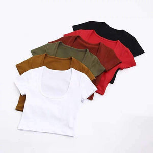 Simple U Neck Short Sleeve T-shirt