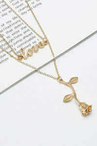 Love Letters Rose Pendant Choker Necklace