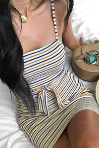 Colorful Stripes Tie-up Slim Dress