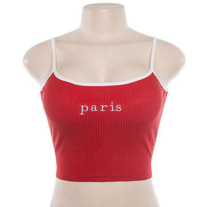 Honey / Paris Letters Embroidery Strappy Crop Top