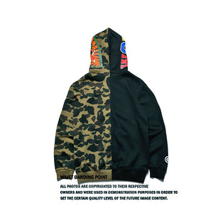 shark mouth splicing camouflage zipper hoodie