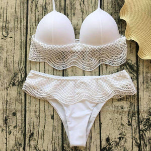 Lace Patchwork Halter 2 Pieces Bikini