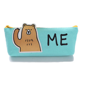 funny animal printed canvas students pencil case