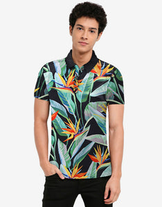 plants printed quick dry turn down collar men t-shirt