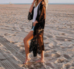 Lace Embroidery Bikini Cover-up Cardigan