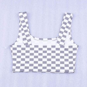 Mosaic Pattern Wrapped Chest Tank Top