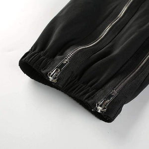 Double Zippers Elastic Casual Harem Pants