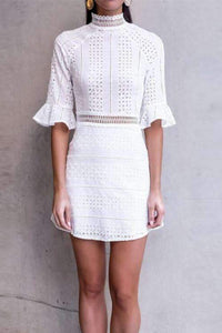 Retro Flare Sleeve Hollow Out White Dress