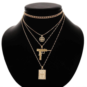 Anti-war Cross Multi-layer Collarbone Necklace