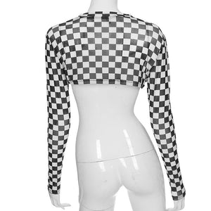 solid color/checkerboard printed mesh long sleeved crop top