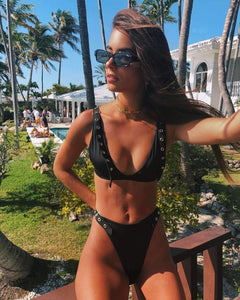 Black Eyelet 2 Pieces Bikini Set