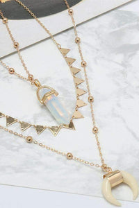 Crescent Crystal Pendent Triangle Necklace Set
