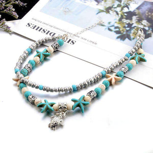 double layer sea turtle pendant anklet