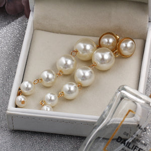 large and small artificial pearl pendant long earring set