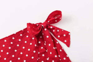 Falbala Hem Bowknot Polka Dot Mini Skirt