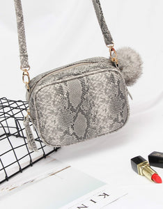 fashion snake printed rectangular cross body bag