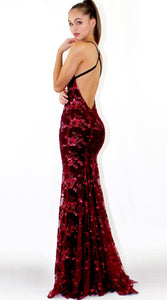 sequins deep v strappy back lace-up slim maxi dress