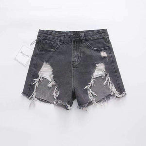 irregular ripped high waisted denim shorts