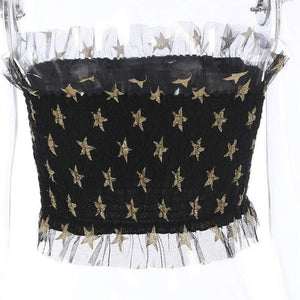 Shiny Stars Mesh Patch Elastic Tube Crop Top