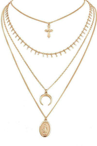 Crescent Cross Multi-layer Collarbone Necklace
