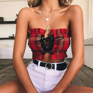 Falbala Lace-up Tartan Strapless Crop Top