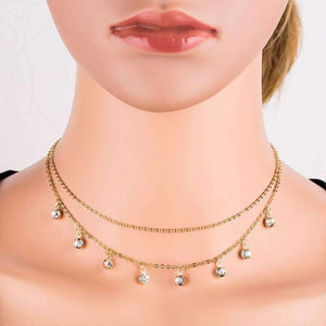 Multi-layer Diamond Pendant Choker Necklace