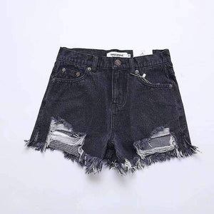 butt ripped denim high waist jeans shorts