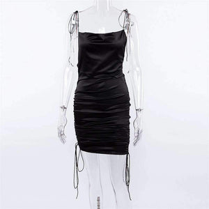 satin strappy side drawstring slim dress
