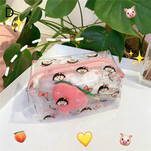 cute cartoon pattern printed lucency cosmetic bag