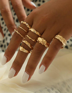 simple irregular geometric figure 9-piece rings set