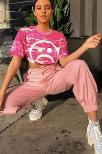 chic pink chain cargo pants