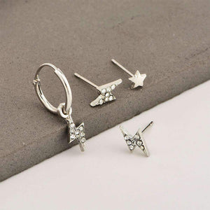 sparkle lightning eardrop earrings set