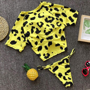 short sleeved bow-tie crop top bikini set