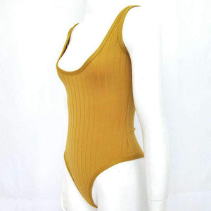Solid Color Low-Cut Bodysuit Top