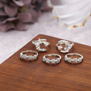 retro star moon crystal rhinestone studded 5-pieces rings set
