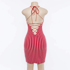 Stripes Backless Bandage Bodycon Dress