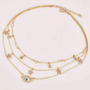 Chic Stars Eyes Drops Pendant Multi-layer Necklace