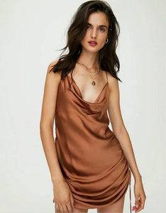 two-side drawstring draped neck strappy satin dress