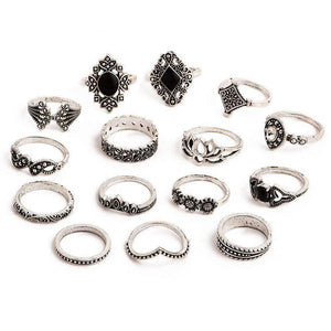 Boho Vintage Lotus 15-piece Ring Set