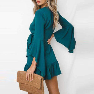 Extra Flare Sleeve Falbala Bandage Dress
