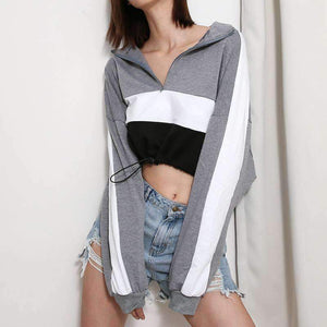 Color Patch Zipper Turtleneck Cropped Sweatshirt