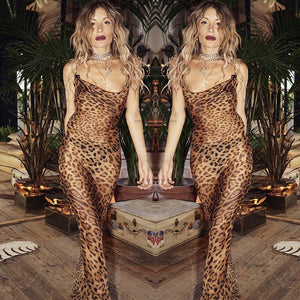 strappy leopard print backless sheer slim maxi dress