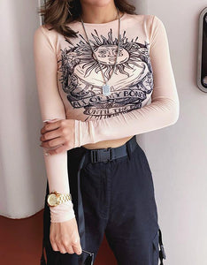 bohemian pattern printed slim mesh crop top