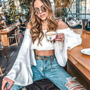 Off-the-shoulder Layered Flare Sleeve Crop Top