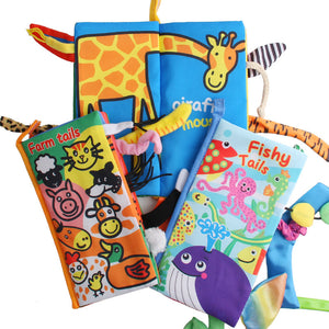 colorful animal's tails cloth book educational baby toys